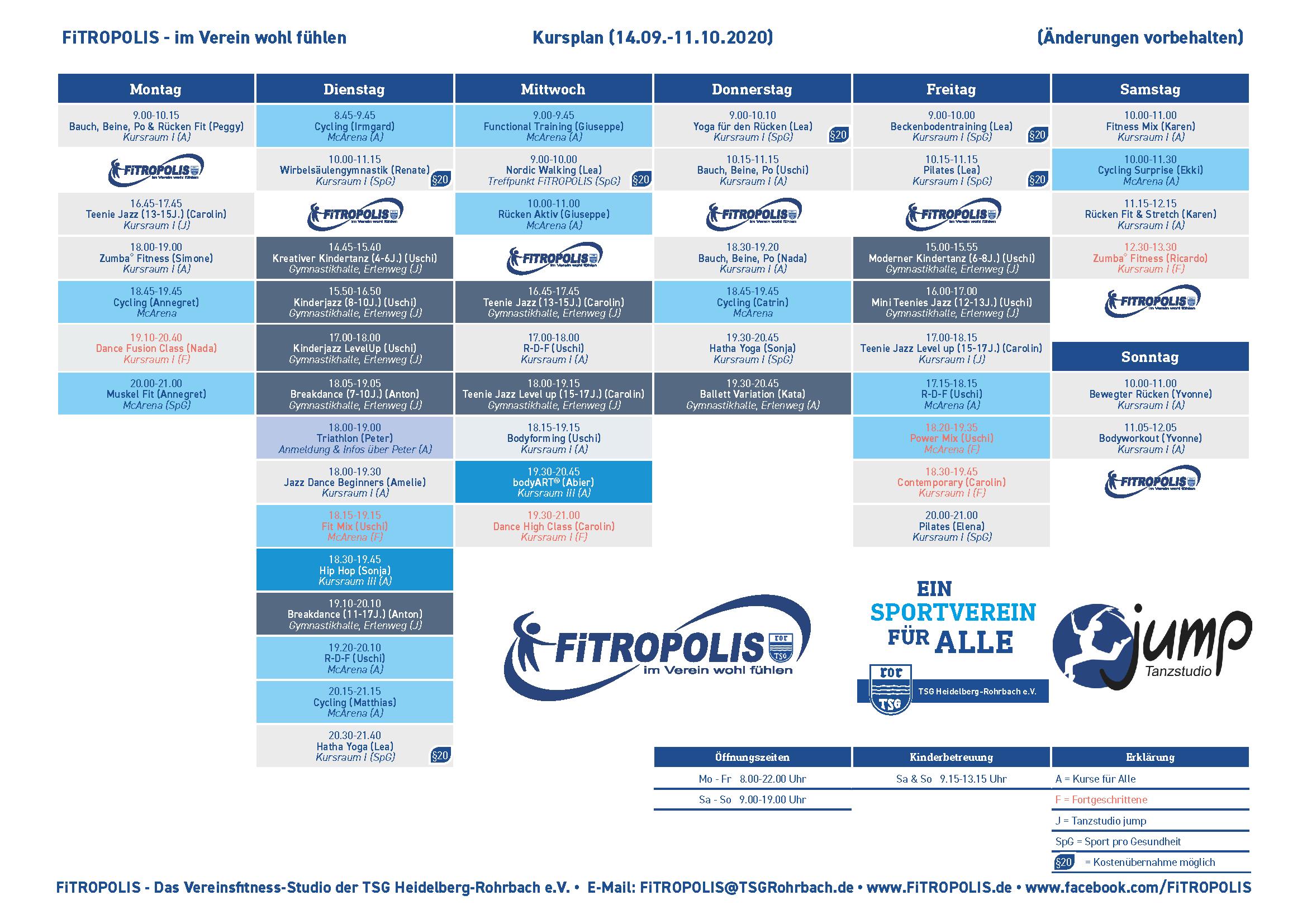 Neuer Kursplan Im FiTROPOLIS Ab 14. September